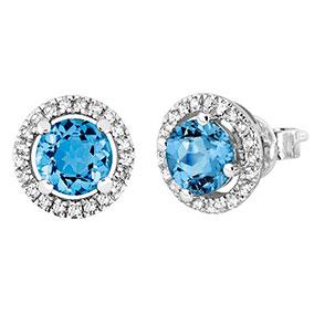 Valkokultaiset timantti-topaasikorvakorut 0,16ct 14 K