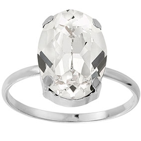 Mood hopeinen sormus ovaali, kirkas kristalli