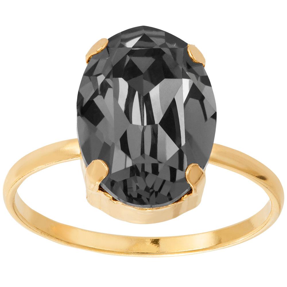 Mood kullattu hopeinen sormus ovaali, musta kristalli