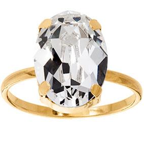 Mood kullattu hopeinen sormus ovaali, kirkas kristalli