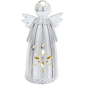 Hopeanvärinen koriste-enkeli led-valolla