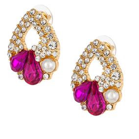 Kullan väriset korvakorut valkoisilla ja vaaleanpunaisilla kristalleilla