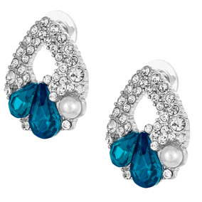 Hopeanväriset korvakorut valkoisilla ja sinisillä kristalleilla