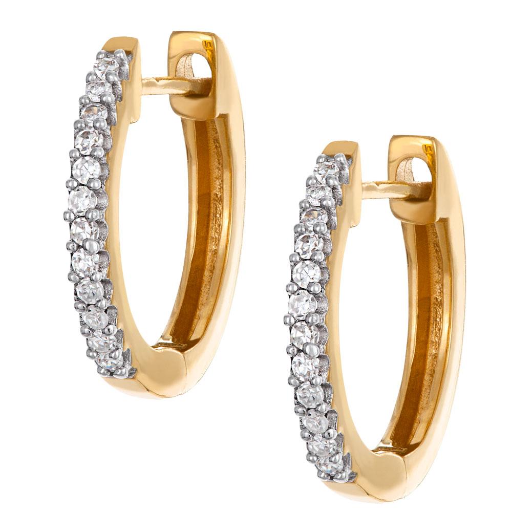 Kultaiset timanttikorvakorut 0,07ct, renkaat