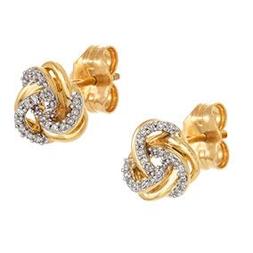 Kultaiset timanttikorvakorut 0,08ct, solmut