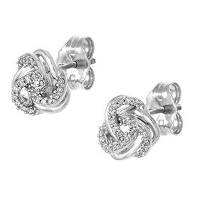 Valkokultaiset timanttikorvakorut 0,08ct, solmut