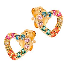 Kultaiset sydän korvakorut, rainbow