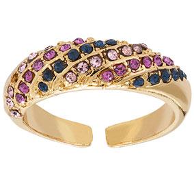 Kullanvärinen säädettävä sormus, pinkit ja siniset kivet