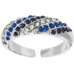 Hopeanvärinen säädettävä sormus siniset kivet