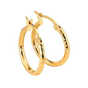 Kultaiset rengaskorvakorut, timanttileikkaus, 10mm