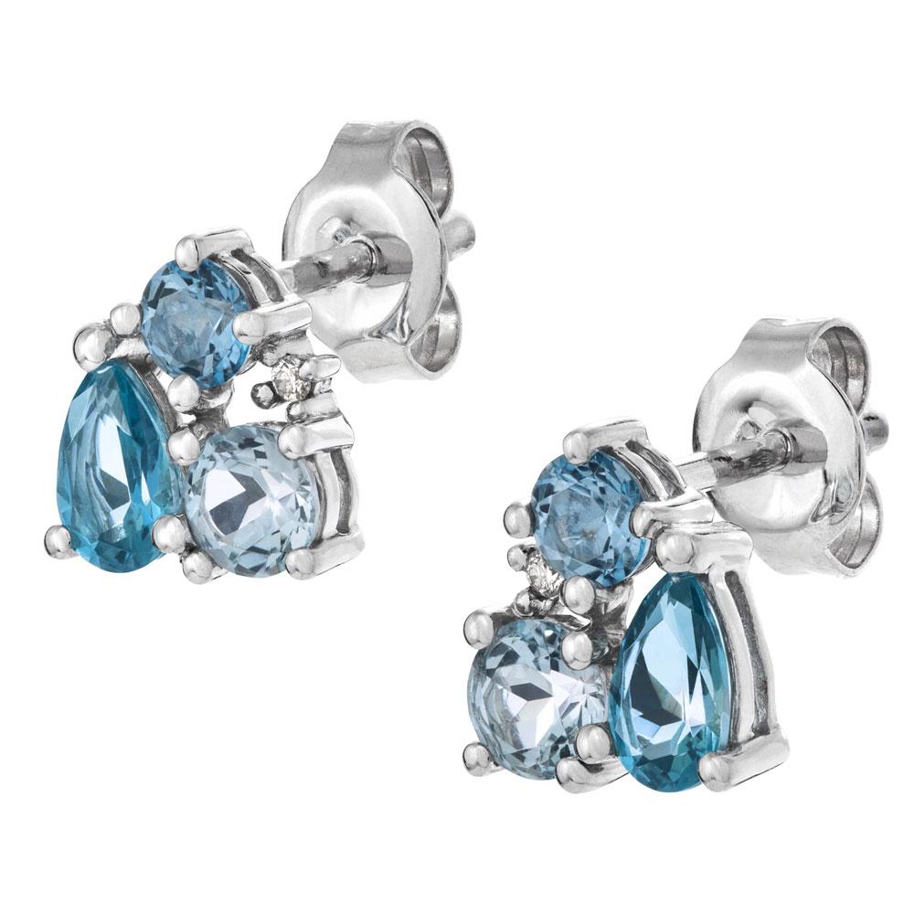 Valkokultaiset timantti-topaasikorvakorut 0,01ct