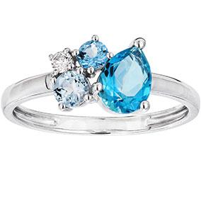 Valkokultainen timantti-topaasisormus 0,04ct