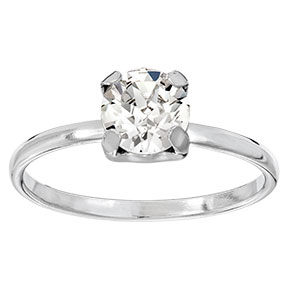 Mood hopeinen sormus, kirkas kristalli