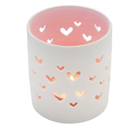 Valkoinen tuikkulyhty, sydämet, vaaleanpunainen sisäpuoli