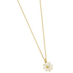 Kullanvärinen kaulakoru, valkoinen kukka