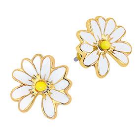 Kullanväriset tappikorvakorut, valkoiset kukat