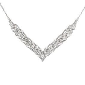 Hopeanvärinen V-mallinen kaulakoru, kirkkaat kristallit