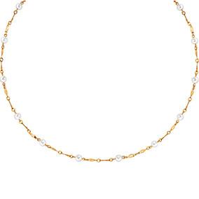Kultainen kaulakoru, makeanvedenhelmet, kierrelenkit 45cm