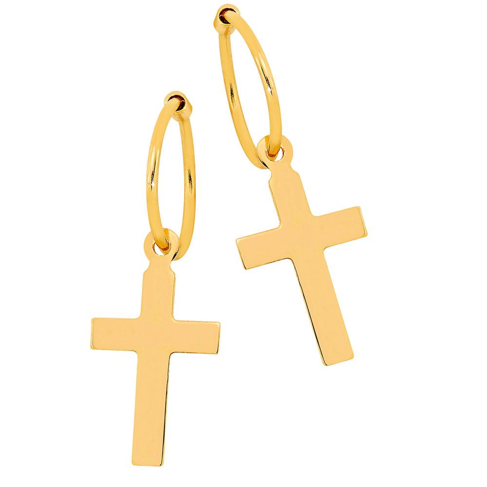 Kultaiset korvarenkaat 10mm, roikkuva risti