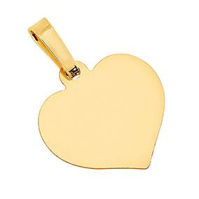Kultainen sydänriipus, sileä, laatta
