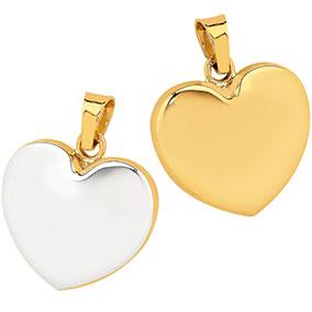 Kultainen riipus, pullea sydän, rodinointi