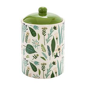 Posliinipurkki kannella, vihreät lehdet