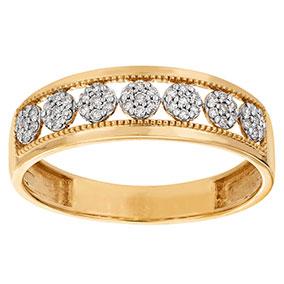 Kultainen timanttisormus 0,13ct, pallorivi
