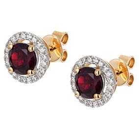 Kultaiset timantti-granaattikorvakorut 0,15ct