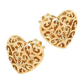 Kultaiset korvakorut filigraanisydän 10mm
