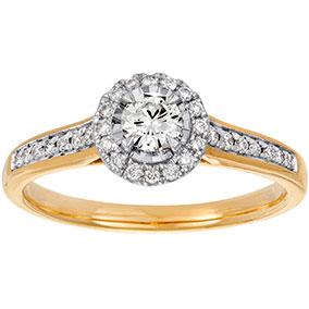 Kultainen timanttisormus 0,34ct