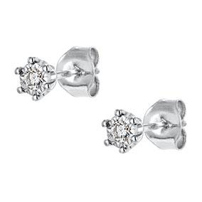 Valkokultaiset timanttikorvakorut 0,09ct