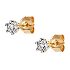 Kultaiset timanttikorvakorut 0,09ct