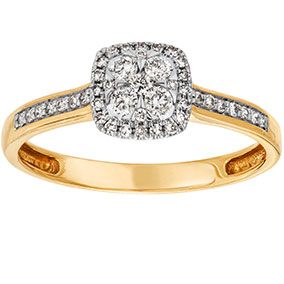 Kultainen timanttisormus 0,25ct, halo