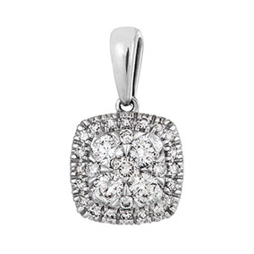 Valkokultainen timanttiriipus 0,24ct, halo