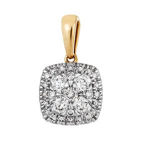 Kultainen timanttiriipus 0,24ct, halo
