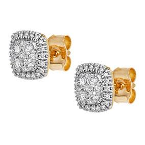 Kultaiset timanttikorvakorut 0,32ct, halo